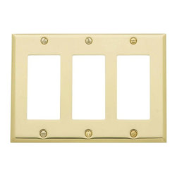 Baldwin Hardware - Beveled Edge 3 GFCI Wall Plate in Polished Brass (4740.030.CD) - Feel the difference as Baldwin hardware is solid throughout, with a 60 year legacy of superior style and quality. Baldwin is the choice for an elegant and secure presence. Baldwin guarantees the beauty of our finishes and the performance of our craftsmanship for as long as you own your home.