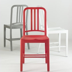 "Emeco - 111 Navy Chair  - Coca-Cola Collaboration - When you recycle a plastic bottle, you're doing something good. When you recycle 111 of them, you're doing something great. Help your bottle become something extraordinary again. Introducing the 111 Navy Chair™ About four years ago, in 2006, Coca-Cola™ came to us at Emeco with a proposal. Their recycling plant in Spartanburg South Carolina was brand new and processing thousands of plastic bottles a day and they were looking for ways to show the value of recycled plastic. Everywhere else in the world people recycle about 80% of their bottles while in the US we recycled only about 20%. Coca-Cola™ asked us to make the classic Navy Chair out of a new, unproven formulation of rPET (Recycled Polyethylene Terephthalate- recycled plastic bottles). They introduced us to the scientists at BASF the international chemical innovator and together we developed proprietary mix made of about 60% and a special combination of pigment combined with glass fiber for strength. In Coca-Cola™ Speak, ""The goal of the 111 Navy project was to alter consumer behavior by illustrating the value of rPET with beautifully designed and everyday products - ultimately encouraging more recycling."" Features: -Suitable for outdoor use: Red, Flint Gray, Snow. -Dimensions: 34"" x 15.5"" x 19.5"". -Product Weight: 13lbs."