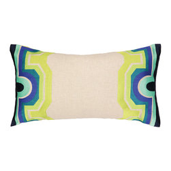 "Trina Turk - Trina Turk Arcata Blue/Green Embroidered Pillow - Globally-inspired style meets modern design on the Trina Turk Arcata pillow. Showcasing a display of striking hues, this beige decorative accessory's borders captivate with geometric patterns. Blue, green, aqua and navy; 26""W x 14""H; 100% linen; Dry clean only; Down pillow insert included"