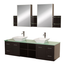 "Wyndham Collection - Wyndham Collection 72"" Avara Espresso Double Sink Vanity Set w/ Green Glass Top - Make a statement with the Avara double vanity, and add a twist of the transitional to an otherwise modern classic. The Avara is the perfect centerpiece to any master bathroom suite, featuring Blum soft close hinges and Blum soft close drawer guides. You'll never hear a door or drawer slam shut again!"