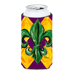 Caroline's Treasures - Mardi Gras Fleur de lis Tall Boy Koozie Hugger - Mardi Gras Fleur de lis Tall Boy Koozie Hugger Fits 22 oz. to 24 oz. cans or pint bottles. Great collapsible koozie for Energy Drinks or large Iced Tea beverages. Great to keep track of your beverage and add a bit of flair to a gathering. Match with one of the insulated coolers or coasters for a nice gift pack. Wash the hugger in your dishwasher or clothes washer. Design will not come off.