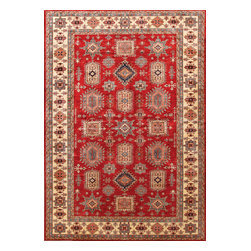 Rugsville - Rugsville  Kazak Red Ivory Wool 16518-9814 Rug 9.8x14 - Our Super Kazak collection carries some of the finest pieces weaved in the Orient! These Kazaks are a modern shape