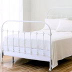 Garnet Hill - Kensington Iron Headboard - Today's treasure, tomorrow's heirloom. This wrought-iron bedstead celebrates simplicity and classic design. Self-supporting frame. Made in USA.