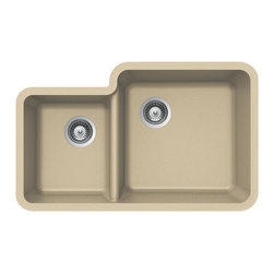 Houzer - Houzer Quartztone S-175U SAND 70/ 30 Double Bowl Undermount Sink - Houzer granite kitchen sink Quartztone Series Undermount 70/30 Double Bowl - SAND