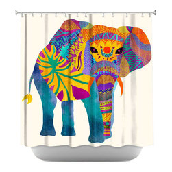 DiaNoche Designs - Whimsical Elephant I Shower Curtain - Sewn reinforced holes for shower curtain rings. Shower curtain rings not included. Dye Sublimation printing adheres the ink to the material for long life and durability. Machine washable. Made in USA.