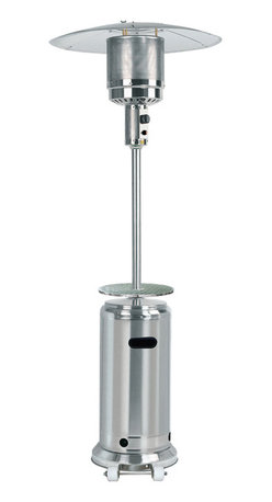 """AZ Patio Heaters - 87"""" Patio Heater with Table - Stainless Steel - Patio heaters offer a great heat source for outdoor environments including patios, bistros and other outdoor seating areas. Patio heaters are ideal for bars and restaurants, offering a comfortable outdoor area even in cold seasons. Hooded tops protect heaters from rain, snow and other hazardous weather conditions. Outdoor heater is made with easy-to-clean 202 grade stainless steel. Patio heater uses 5,000-13,000 watts with up to 41,000 BTUs heat and a heat range up to 15'. Includes a height adjustable table for convenient outdoor use for bars, bistros and other outdoor restaurant areas. Outdoor propane patio heater includes regulator and safety anti-tilt switch. Flame screen measures 10-13/16"""" diameter x 9-1/8""""H. Propane patio heater has 31-7/8"""" diameter reflector. Burner measures 10-7/8"""" diameter x 23-5/8"""". Base measures 18-1/8"""" diameter x 3-3/8""""H. Base includes wheels for easy mobility. Patio heater includes plastic PVC burner cover for protection and safety when not in use. Tank housing measures 14-7/8"""" diameter x 30-11/16""""H. Accepts 20 lb. propane tank (not included). Main pole is 2-3/16"""" diameter x 33-1/2""""H. Portable patio heater is 87""""H and requires 24""""-36"""" ceiling clearance."""