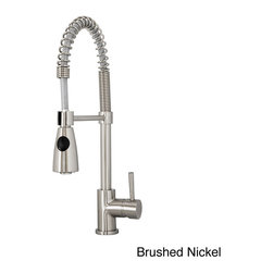 VIRTU - Virtu USA Neso PSK-1005 Single Handle Kitchen Faucet in Brush Nickel or Polish C - Virtu USA Neso PSK-1005 single handle kitchen faucet reach every corner of your sink. The faucet features a swivel spout and a pull-down sprayer that makes it easy for cleaning dishes.
