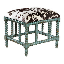 Chahna Small Bench - A certain joie de vivre suffuses the Chahna Small Bench, what with its cheery aqua blue finish and beguiling bovine-inspired fabric. The solid frame is fashioned from plantation grown mango wood; the cushioned seat boasts a plush velvet wonderfully soft to the touch. A charming addition to an eclectic great room, reading nook, or guest cottage.