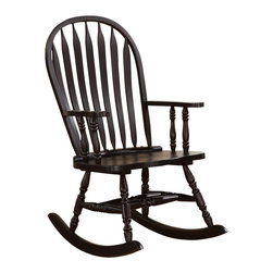 Monarch Specialties - Monarch Specialties I 1523 Cappuccino Arrow Windsor Back Rocking Chair - Whether you are a new mom looking to soothe a baby or just want place to sit and relax, this traditional styled wooden rocking chair will be a lovely addition to your home. This arrow Windsor back��_��__rocker has a curved top, soft wavy arms that frame the seat, turned spindle supports, and is finished in a rich cappuccino. Turned legs above the wood rocker base complete this charming look and add the perfect touch of warm tradition. Rocking Chair (1)