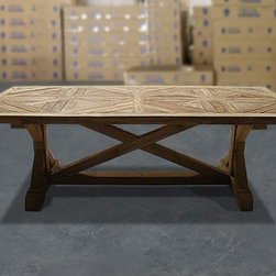 """British Gardens FSC Recycled Teak Trestle Table No.1 - 95""""x42"""" - The tops are extra thick at 4"""" with an impressive base. The tables are full machine constructed and a true 5/5 star product. Great care and attention goes into the top board pieces. The unfinished look is carefully crafted to show the old age and color from once before."""