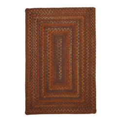 Colonial Mills, Inc. - Ridgevale, Audubon Russet Rug, Sample Swatch - Earthy hues and square corners add modern elegance to this traditionally constructed braided rug. Woven in taupe, russet and brown wool, it's soft, durable and reversible for long-lasting comfort, color and beauty.