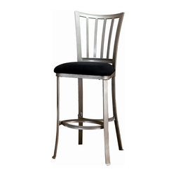 Hillsdale - Hillsdale Delray 30 Inch Bar Stool - Hillsdale - Bar Stools - 4660830 - A contemporary twist on Mission style the Delray stool is simply striking. Classic lines are modernized by its pewter finish. The backs of these non-swivel stools are slightly swayed and the legs are subtly flared. The overall look is eye-catching and intriguing.