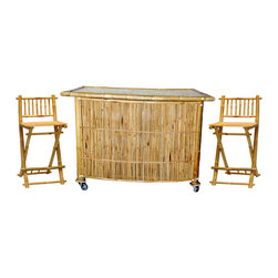 Bamboo54 - Small Bar With Folding Bar Stool - This Small Bar With Folding Bar Stool makes efficient use of serving space. It brings both durability and style to any setting. This sturdy bamboo bar set with natural finish will hold up well to summer weather. Give your patio, lanai, or backyard its own tropical island refuge with our 3 piece bamboo bar set. The set includes two bamboo bar stools and one glass top bar table styled out of a unique bamboo pattern.