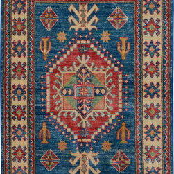"""ALRUG - Handmade Blue Oriental Kazak Rug 2' 10"""" x 4' 1"""" (ft) - This Afghan Kazak design rug is hand-knotted with Wool on Cotton."""