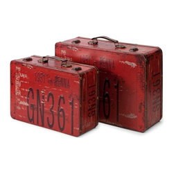 Red Richmon Suitcases Trunks- Set of 2 - *Inspired by license plates from an earlier time, this set of two suitcases feature vintage graphics and are great for adding color to any Decor!