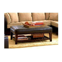 Coaster - Contemporary Tufted Ottoman w Storage Shelf - Contemporary style. Upholstered plush tufted top. Lower shelf with slat design. Provides great place to store reading materials or display decorative accents. Tapered wood legs. Made from faux leather. Brown color. 48 in. L x 30 in. W x 19.5 in. H. WarrantyThis sophisticated contemporary ottoman will instantly update you living room or family room with elegant style. Position this comfortable ottoman in front of your favorite sofa or chair, and use as a footrest or as a cocktail table. Add this contemporary ottoman to your home for a stylish and functional design.