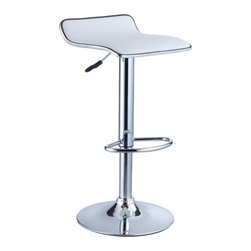 """Powell - Faux Leather Thin Seat Adjustable Height Bar Stool in White (Set of 2) - The Thin Seat Bar Stool is a unique, contemporary addition to your home. The backless curved faux leather seat, round sturdy footrest and height adjustable lever provides both style and function. An eye-catching, versatile white and chrome easily complements your home's existing decor. Seat adjusts with a gas-lift mechanism. 300 pound weight capacity. BIFMA 5.1 and EN1335 Standard testing passed and approved. Some assembly required. Features: -White faux leather seat. -Chrome frame. -Unique contemporary design. -Height adjustable seat with gas lift . -BIFMA 5.1 and EN1335 standard testing passed and approved. -300 Pound weight capacity. -Assembly required. -Dimensions: 26""""-34.25"""" Height x 14.75"""" Width x 13.5"""" Depth."""