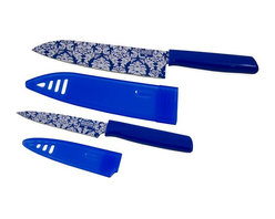 "Kuhn Rikon - Kuhn Rikon 6.5 Chefs Knife and 4 Paring Knife Set Colori Blue - This Blue Colori Damask Knife Set can handle all your kitchen prep tasks.  The 6.5 Chefs Knife Colori Damask is ultra sharp in so many ways quality, performance, and Swiss design.  The 4 Paring Knife Colori Damask is perfect for slicing cheese for a sandwich, peeling an apple for a snack or chopping vegetables for a salad.  Features: 6.5"" Blade on the Chefs Knife 4 Blade on the Paring Knife Stylish Blue Damask pattern Made from Japanese high carbon stainless steel Blades stay super sharp Perfect for essential kitchen tasks Nonstick coating ensures food will release easily from blade Matching sheath is perfect for storage and protects blade"
