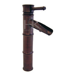 Hans Kristof Single Handle Oil Rubbed Bronze Bamboo Style Vessel Sink Faucet - Dimensions: 13 in tall. The spout comes out at 11 in and it is 4 in in length