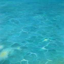 "Original Tropical Seascape Oil Painting (Water #1) - Water #1 is an original 40"" x30"" tropical seascape oil painting on gallery wrap canvas of shallow, glistening tropical water."