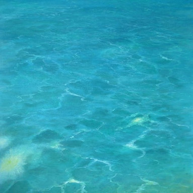 """Original Tropical Seascape Oil Painting (Water #1) - Water #1 is an original 40"""" x30"""" tropical seascape oil painting on gallery wrap canvas of shallow, glistening tropical water."""