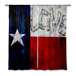 "DiaNoche Designs - Window Curtains Unlined - Patti Schermerhorn Love For Texas - Purchasing window curtains just got easier and better! Create a designer look to any of your living spaces with our decorative and unique ""Unlined Window Curtains."" Perfect for the living room, dining room or bedroom, these artistic curtains are an easy and inexpensive way to add color and style when decorating your home.  This is a tight woven poly material that filters outside light and creates a privacy barrier.  Each package includes two easy-to-hang, 3 inch diameter pole-pocket curtain panels.  The width listed is the total measurement of the two panels.  Curtain rod sold separately. Easy care, machine wash cold, tumbles dry low, iron low if needed.  Made in USA and Imported."