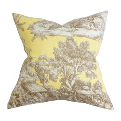 "The Pillow Collection - Evlia Toile Pillow Yellow 18"" x 18"" - This delightfully beautiful accent pillow is an addition to your home. This square pillow features a toile pattern in shades of brown and white printed on a yellow background. This 18"" pillow offers a timeless charm to your sofa, couch, bed or seat. Crafted in the USA, this decor pillow is made with 100% soft cotton pillow. Hidden zipper closure for easy cover removal.  Knife edge finish on all four sides.  Reversible pillow with the same fabric on the back side.  Spot cleaning suggested."