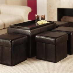 Convenience Concepts - Designs4Comfort Manhattan Storage Bench with Collapsible Ottoman Set - Features: -Beautiful durable espresso faux leather with decorative stitching.-Painted wood serving tray.-Coordinates with any decor.-Set includes one storage bench with four collapsible side ottomans.-Designs4Comfort collection.-Collection: Designs 4 Comfort.-Distressed: No.Dimensions: -Dimensions: 18'' H x 30.5'' W x 18'' D.-Overall Product Weight: 62 lbs.