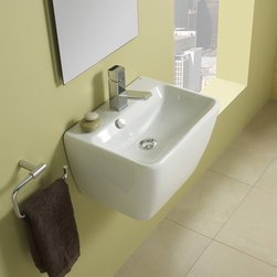 "Emma-45 - Wall-mount ceramic sink with overflow and one pre-drilled faucet hole. Sink measures 17.7"" L x 13.7"" W x 11.5"" H"