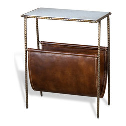 Kathy Kuo Home - Strauss Industrial Loft Magazine Holder Side End Table - When it comes to clutter control, the leather hanging magazine rack is a hero piece. When a marble tabletop is added, it becomes nothing less than a super hero. Have your cake (and newspaper or magazine) and eat it too.  In a classic traditional line, hewn from marble, leather and antique brass finished metal, this piece just works and works.