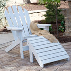 Jayhawk - Jayhawk Plastics Recycled Plastic Cape Cod Adirondack Chair And Ottoman Set - JP - Shop for Chairs and Sofas from Hayneedle.com! Heading outside to relax in the sun only gets more enticing with the Jayhawk Plastics Recycled Plastic Cape Cod Adirondack Chair And Ottoman Set. Constructed from high-grade recycled plastics that are eco-friendly and built to last for years to come you can enjoy the serene view of your backyard in complete comfort. The five-slatted contoured back on the chair is designed for coziness and you can relax contently for hours on end with your feet up on the ottoman. While offering attractive features and stability this chair and ottoman set is made from moisture-resistant materials and is virtually maintenance free. With several different colors to choose from you can purchase matching sets that coordinate with your current patio furniture.
