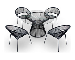 Harmonia Living - Acapulco 5 Piece Retro Dining Set, Jet Black - The Acapulco 5 Piece Retro Dining Set by Harmonia Living in Jet Black (SKU HL-ACA-5DN-JB) blends mid-century design with modern funk to create a new standard of comfort and style for your patio. The collection is inspired by woven furniture that was incredibly popular in Central America in the 1950s and '60s, creating seating that is supportive and breathable. This makes the Acapulco Lounge Chair ideal for unwinding even in the warmest climates. The chair is designed to center your weight between its triangular legs, providing a stable and comfortable resting position that seems to defy the outrageous geometry of the collection. Beyond its comfortable design, the lounge chair is constructed with a powder-coated steel frame, making it incredibly durable and weather-resistant. The frame is wrapped in a supportive Polyethylene cord, giving the collection its distinctive look. The chair is available in funky colors that are sure to brighten up your patio, including Glacier Blue, White Lighting, Root Beer Brown and Jet Black.