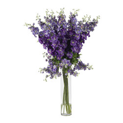 """Nearly Natural - Nearly Natural Delphinium Silk Flower Arrangement - Spring has definitely sprung��_ you'll be thinking that year-round when you gaze upon the whimsical beauty of this lovely Delphinium arrangement. Countless stems rise out of the beautiful vase, culminating in an explosion of floral color that looks even better in person than it does in this picture. The perfect ��_brighten me up"""" adornment for any room, this silk flower arrangement also makes a perfect gift for that sunny person in your life."""