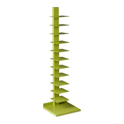 Holly & Martin - Holly & Martin Heights Book/Media Tower-Lime Green - Minimalist design meets invigorating color in this artsy media tower, perfect in smaller spaces or anywhere you need a vertical piece. Store your books, magazines, movies or knickknacks on the 11 shelves. The bright painted finish and powder-coated metal will last you for years.