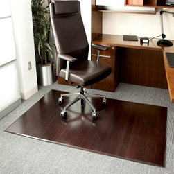 Anji Mountain Dark Cherry Bamboo Tri-Fold Office Chair Mat - Perfect no matter where you put it whether in your office or at home the Anji Mountain Dark Cherry Bamboo Tri-Fold Office Chair Mat will complete the look of your room. This machine-made rug is an ecologically friendly alternative to the plain vinyl chair mat. Rubber backing provides cushioning and protects the floor. Folds up for easy transportation. Spot clean. 12 mm. thick.About Anji Mountain Bamboo Rug Co.Anji Mountain Bamboo rugs and office chair mats are ecologically friendly. Bamboo has a robust root system that generates multiple new shoots for every mature stalk that is harvested. Unlike hardwood that can take decades to grow to a mature height ready for harvest bamboo grows 8-12 feet a year! When you purchase a rug or office mat from Anji Mountain Bamboo Rug Co. you help support the ecologically responsible practice of regulating sustainable bamboo forests instead of clear-cutting old-growth hardwood forests.The dense durable bamboo that Anji Mountain Bamboo Rug Co. uses is carbonized and kiln dried to remove moisture which helps prevent cracking and warping. Because of this process their bamboo rugs and office chair mats are ready to withstand the dry heat of your home or office in the wintertime or the arid climate of those living in the desert and mountains.