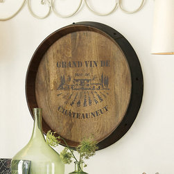 Ballard Designs - French Wine Barrel Plaque - Crafted of wood and iron. Hand stenciled. Chocolate lettering. The design is based on a vintage French wine barrel and makes a 4-star addition to any wine lover's room. The recessed frame is banded with iron-finish, riveted metal banding for an aged, straight-from-the-vineyard look. French Barrel Plaque features: . . .