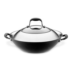 "All-Clad Stainless Steel 13"" French Skillet - The bowl-like shape and extra deep capacity of this Anolon Advanced 14 "" covered wok helps to keep food in the pan during the stir fry cooking process  which involves quick cooking and constant stirring of several ingredients at once. Use this wok to create quick  healthful meals  with crisp tender vegetables and proteins all in one.This metal utensil safe Anolon�� Advanced wok features a revolutionary ergonomic SureGrip_�� handle  a combination of durable stainless steel and silicone rubber  that provide a confident yet soft grip and are oven safe to 400 DegreesF. The pans' heavy gauge  hard-anodized construction ensures efficient  even heat distribution for exceptional gourmet cooking performance. DuPont's rugged Autograph�� 2 nonstick surface inside and out is ideal for both healthy cooking and easy cleanup. Restaurant tested by professional chefs  Autograph�� 2 surpasses all other standard nonstick formulas by delivering superior durability that stands up to the rigors of a professional kitchen.Product Features                        Material - Hard Anodized Aluminum            Oven Safe to 500 Degrees F            Suitable stovetop - Gas  solid plate  radiant ring  ceramic  halogen            Nonstick interior surface            Dishwasher Safe - No            Lifetime Limited Warranty"