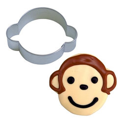 "RM - Monkey Face 3.25 In. B1219X - Monkey face head cookie cutter, made of sturdy tin, Size 3.25"" wide from ear to ear, 2.5"" top to bottom. Depth 7/8 in., Color silver."