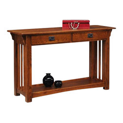 Leick Furniture - Leick Furniture Mission Console Table with Drawers and Shelf in Oak - Leick Furniture - Sofa Tables - 8233 - A mission style classic for your entry way or behind your sofa. A gorgeous addition to your decor with solid wood top/ frame and a hand applied multi-step Medium Oak Finish that enhances the natural wood grain. Need to tuck something away, try one of the two drawers. Need a prominent showcase for a cherished piece of artwork take advantage of the beautiful framed effect of the bottom shelf display. A pair of dramatic, show-stopper lamps the corbel supported top is made to order. Add the matching mission end tables and coffee table for a complete living room ensemble.