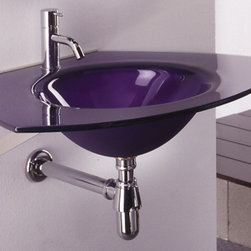 Whitehaus - New Generation Ecoloom Trapezoidal Glass Coun - Integrated round basin. Polished stainless steel angular wall mount supports. Single hole faucet drilling. Violet color. Inside bowl: 14 in. Dia. x 5 in. H. Outer: 27.5 in. L x 21.5 in. W (33 lbs.). Warranty