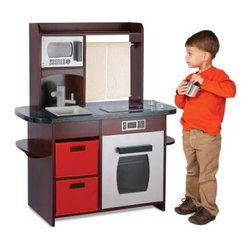 Guidecraft Cooking Delights Kitchen - Espresso - It used to be impossible to find a play kitchen in a color little boys could be proud of, but now with the Guidecraft Cooking Delights Kitchen – Espresso, your junior chef can bake without the pink appliances. Pretend-play cooking is made all the more fun when kids see the traditional equipment their parents use every day. This espresso kitchen comes with all the features that any grownup would be happy to have at hand. The detailed play set includes a spacious countertop with faucet and range, multiple storage bins and shelves, a microwave, a sink, and much more for multiple children to prepare an imaginary feast for the whole family.About GuidecraftGuidecraft was founded in 1964 in a small woodshop, producing 10 items. Today, Guidecraft's line includes over 160 educational toys and furnishings. The company's size has changed, but their mission remains the same; stay true to the tradition of smart, beautifully crafted wood products, which allow children's minds and imaginations room to truly wonder and grow.Guidecraft plans to continue far into the future with what they do best, while always giving their loyal customers what they have come to expect: expert quality, excellent service, and an ever-growing collection of creativity-inspiring products for children.