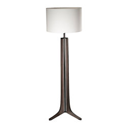 "Cerno - Arts and Crafts - Mission Cerno Forma Black Walnut LED Floor Lamp with Linen Sha - Bring chic style into your home decor with this contemporary LED floor lamp. A black anodized aluminum rod is centered in a black stained solid walnut wood stand with three legs. A clean white drum shade lends a handsome contrast to the dark wood. This fully dimmable flickerless floor lamp is illuminated with energy-saving LEDs that will last and last bathing your room in a crisp warm white light. An exceptional design from Cerno. Walnut and aluminum floor lamp. Black walnut finish. Black metal finish. White linen shade. Includes 20 watt LED. 72"" high. Shade is 22"" wide. Color temperature is 2700K. 1150 lumens 85 CRI.  Energy efficient LED lamp.  Black anodized aluminum and black stained walnut with lacquer.  White linen shade.   Fully dimmable with no flicker.  Includes 20 watt LED.   1150 lumens 85 CRI.   Warm color temperature 2700K.   72"" high.   22"" diameter x 14"" high shade.   Footprint measures 18 3/4"""" wide x 21 1/2"" deep."