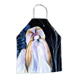 Caroline's Treasures - Starry Night Shih Tzu Apron - Apron, Bib Style, 27 in H x 31 in W; 100 percent  Ultra Spun Poly, White, braided nylon tie straps, sewn cloth neckband. These bib style aprons are not just for cooking - they are also great for cleaning, gardening, art projects, and other activities, too!