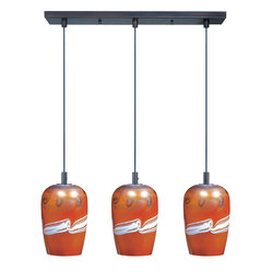 ET2 Lighting - Glass Trio Pendant - Add an artful touch to your kitchen with this glass trio of lights. The pendant includes three bulbs and hangs elegantly at 120 inches. Let this light your counter in beautifullly eclectic style.