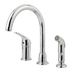 """Pfister - Pfister F-WK1-680C Polished Chrome Classic Classic Kitchen Faucet with - Classic Kitchen Faucet with Sidespray Low Lead The Classic collection of bathroom and kitchen fixtures from Pfister is an entry-level series that features a wide range of products. The bathroom faucets are available in centerset and widespread configurations and are complemented by a Roman tub filler. In the kitchen, single or double handle faucets come with great options like pullout spray spout, side spray, and soap dispenser. The entire Classic collection is available in two different finishes.  All brass faucet body construction - Weight: 5.18 LBS 8"""" centers, 3 hole installations 1 metal lever handle ADA Compliant Industry leading, lifetime ceramic disc valve Sidespray included Spout swivels up to 180 degrees for increased versatility 2.2 gallon-per-minute flow rate Installs onto decks (counter tops) up to 1.5"""" thick Low lead compliant - complies with state-mandated low-lead requirements for plumbing products Designed for use with standard US plumbing connections All necessary mounting hardware included Fully covered under Pfister s Pforever Lifetime Warranty  About Pfister Founded in 1910, Pfister (previously known as Price Pfister) is one of America's oldest and most experienced plumbing companies. As the first faucet manufacturer in the world to offer a lifetime warranty on their products, quality has always been the cornerstone of Pfister faucets. Brass bodies, ceramic disc valves, and lifetime PVD finishes name a few of the features you'll find in their product line. You will also find innovative designs. In the last 100 years, Pfister pioneered many of the faucet varieties that have helped to define the industry today. This kind of market presence has made Pfister one of the most trusted names in plumbing. Buy Pfister – you won't be disappointed."""