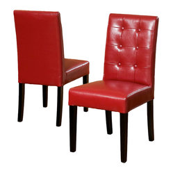 Great Deal Furniture - Gillian Red Leather Dining Chair (Set of 2) - Dine in style and elegance with the Gillian Leather Dining Chair. It features a tufted backrest, upholstered in red soft bonded leather, and black stained legs.