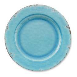 Rustic Melamine Dinner Plates, Turquoise - Serve up dinner alfresco with these gorgeous, rustic blue dinner plates.