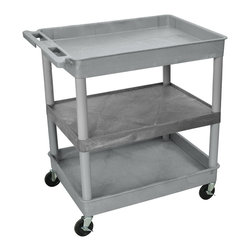 "Luxor - Luxor Tub Cart - TC121-G - These Luxor TC series utility carts are made of high density polyethylene structural foam molded plastic shelves and legs that won't stain, scratch, dent or rust. Features a retaining lip around the back and sides of flat shelves. Includes four heavy duty 4"" casters, two with brake. Has a push handle molded into the top shelf."