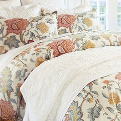 Cynthia Palampore Duvet Cover, Full/Queen, Ivory - Palampores were highly prized by European merchants of the late 17th century. In the tradition of those rich hand-blocked designs, our bedding displays a lavish, swirling print of foliage and blooms. Woven of a linen/cotton blend. Duvet cover reverses to a solid cotton percale. Sham reverses to self. Duvet cover has a button closure; sham has an envelope closure. Duvet cover, sham and insert sold separately. Machine wash. Imported.