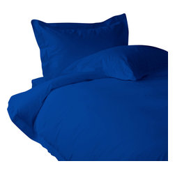 """500 TC Sheet Set 15"""" Deep Pocket with Duvet Cover Solid Egyptian Blue, Twin - You are buying 1 Flat Sheet (66 x 96 inches), 1 Fitted Sheet (39 x 80 inches), 1 Duvet Cover (68 x 90 inches) and 2 Standard Size Pillowcases (20 x 30 inches) only."""